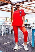 401Летний женский костюм-двойка  красный/ красного цвета