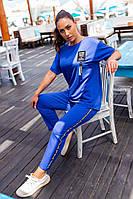 401 Летний женский спортивный костюм-двойка  электрик/ ярко-синий/ ярко-синего цвета