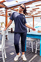 401 Летний женский прогулочный костюм-двойка  темно-синий/ темно-синего цвета/ синего цвета