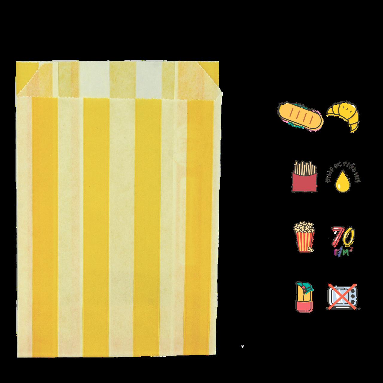 """Бумажный Пакет """"Желтые полоски"""" жиростойкий  170х120х50мм (ВхШхГ) белый,  70г/м² 100шт (253)"""