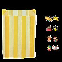 """Бумажный Пакет """"Желтые полоски"""" жиростойкий  170х120х50мм (ВхШхГ) белый,  70г/м² 100шт (253), фото 1"""