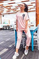 401 Летний женский прогулочный костюм-двойка  нежно-розовый/ розового цвета/ пудра