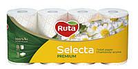 Туалетная бумага Ruta Selecta с ароматом ромашки 150 отрывов 3 слоя 8 рулонов Белая