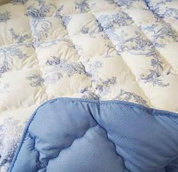 Одеяло теплое двуспальное холлофайбер комбинированное голубой цвет