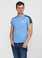 Футболка-поло мужская голубая  EL & KEN с логотипом, L
