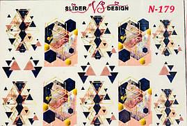 Наклейки слайдеры  для дизайна ногтей на водной основе N-179