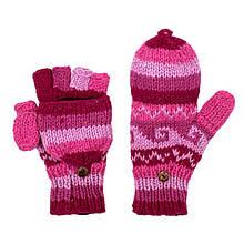 Перчатки варежки с откидным верхом вязанные