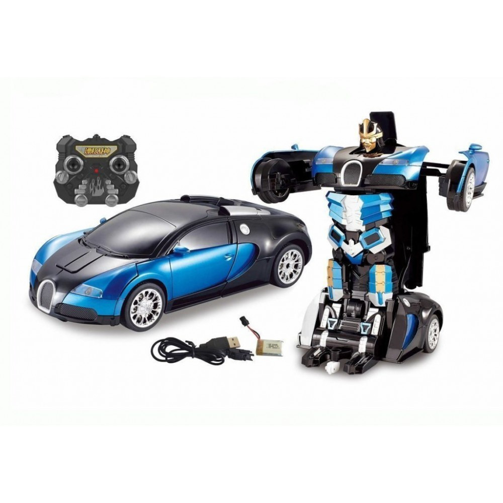 Машинка - трансформер на радиоуправлении Bugatti Robot, синяя размер 1:12