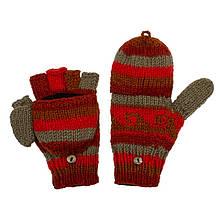 Стильные варежки перчатки вязанные с орнаментом