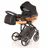 Детская коляска 2 в 1 для новорожденных Junama Diamond Mirror Blysk 01 Bronze J-MB-01 Черный с бронзовым