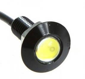Светодиодный линзованый мини светильник 12V 1.5W с гайкой черный наружный Код.58114