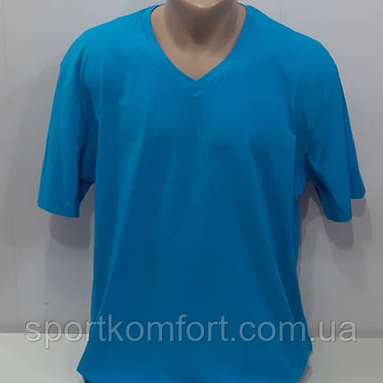 Чоловіча однотонна футболка Туреччина, великого розміру, горловина - мис, 95 бавовна., фото 2