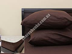 Комплект простыни на резинке с наволочками (180*200*25) коричневый