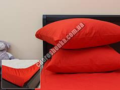 Комплект простыни на резинке с наволочками (180*200*25) красный