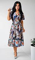 Женское деловое платье для работы из легкой летней ткани с принтом синий фон 40,42,44,46,48,50