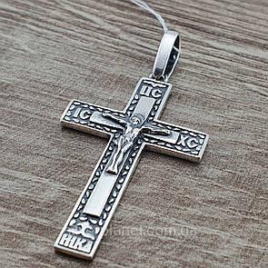 Серебряный крестик. Мужской православный кулон из серебра