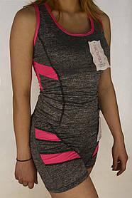 Майка і шорти жіночі з яскравими вставками S - XL Костюм жіночий річний сірий Ластівка