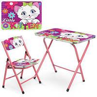 Детский столик со стульчиком складной Bambi A19-KITTEN. Стол и стул для ребенка розовый