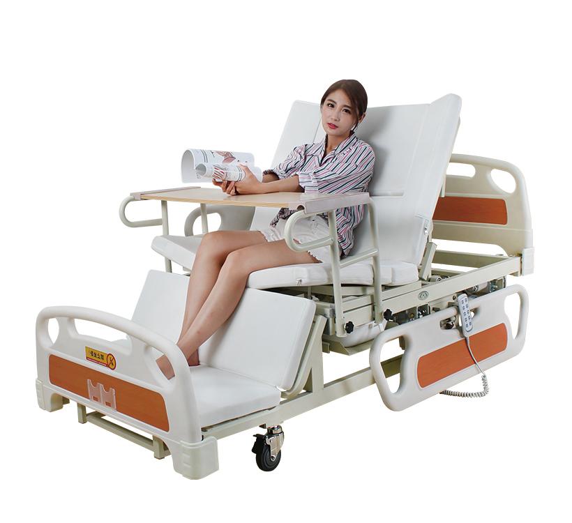 Медичне функціональне електро ліжко з туалетом і боковим переворотом MIRID E39. Ліжко для високих людей. Туалет на пульті.