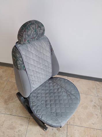 Накидки на сиденья авто из АЛЬКАНТАРЫ (искусственной замши). Сталь. 2 передних, фото 2