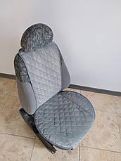 Накидки на сиденья из АЛЬКАНТАРЫ (искусственной замши). Сталь. Комплект, фото 2