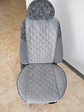 Накидки на сиденья из АЛЬКАНТАРЫ (искусственной замши). Сталь. Комплект, фото 3