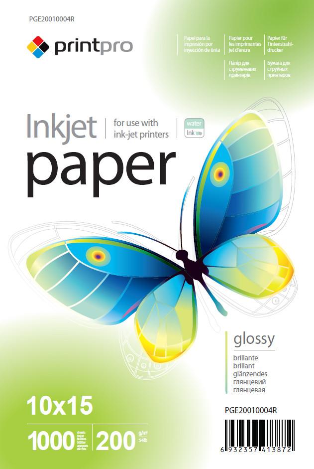 Фотопапір PrintPro 10x15 200г, глянцевий, PG200-1000 (PGE20010004R)