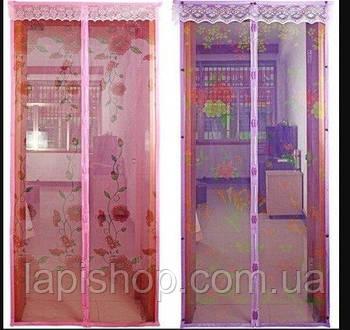 Антимоскитная сетка шторка Magic Mesh 100*210 см Синий, Зеленый, Фиолетовый, Розовый
