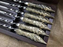 """Набір шампурів з бронзовими ручками """"Щука"""" в кейсі з натурального дерева"""