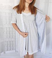 Комплект халат и сорочка для кормления в роддом на клипсе