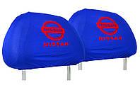 Универсальные чехлы майки на подголовники для автомобиля NISSAN (синие)
