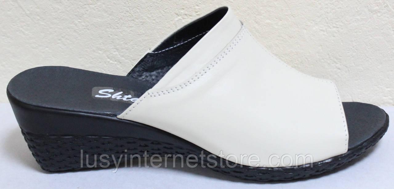 Сабо кожаные бежевые от производителя модель ШЛ103-4Р