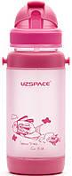 Пляшечка - поїльник з трубочкою UZspace 3039 baby 320 мл, рожева, фото 1