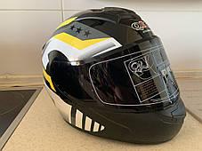Чёрный шлем интеграл полнопрофильный  глянец с Тонированным визором, фото 2