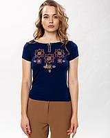 Модна жіноча футболка з коричневою вишивкою у темно синьому кольорі «Оберіг», фото 1