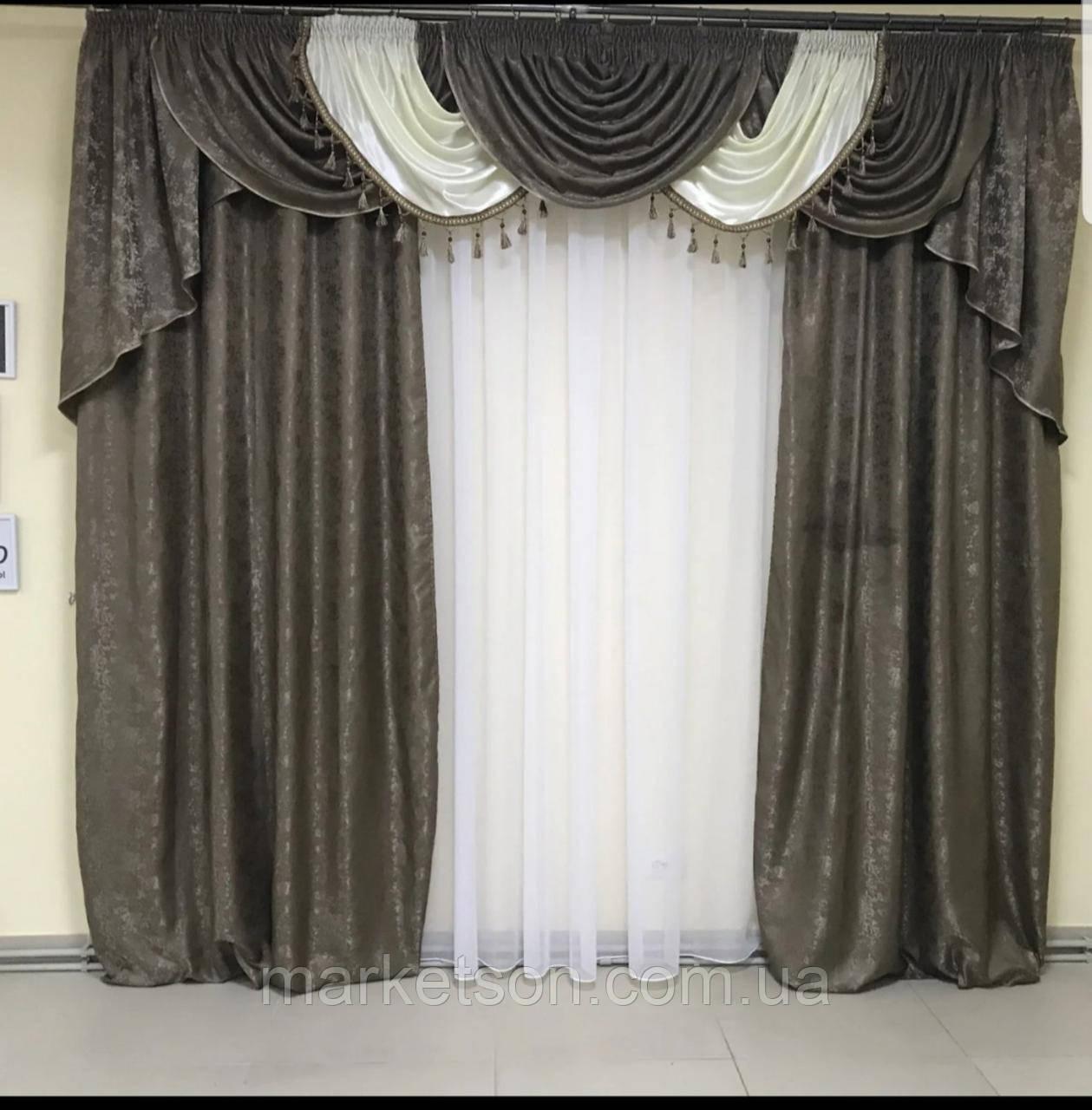 Готовые шторы с ламбрекеном для гостинной.Много цветов.