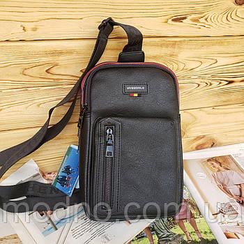 Мужская стильная сумка слинг через плечо черная
