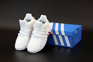 Женские кроссовки Adidas EQT Bask ADV White Red (Адидас ЕКТ белые с красным весна/лето)