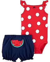 Комплект 2 ед. Carters бодик с коротким рукавом и шорты для девочки  9 месяцев 68 -72 см красный