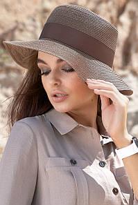Коричневая женская летняя капроновое шляпа с декоративной лентой (1615.4229 svt)