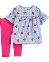 Стильный комплект двойка для девочки Carters 72-76 (12 месяцев) разноцветный
