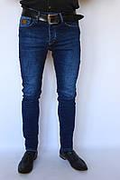 Джинсы мужские темно-синие з потертостями слим фит slim fit зауженые реплика Versache Джинси чоловічі
