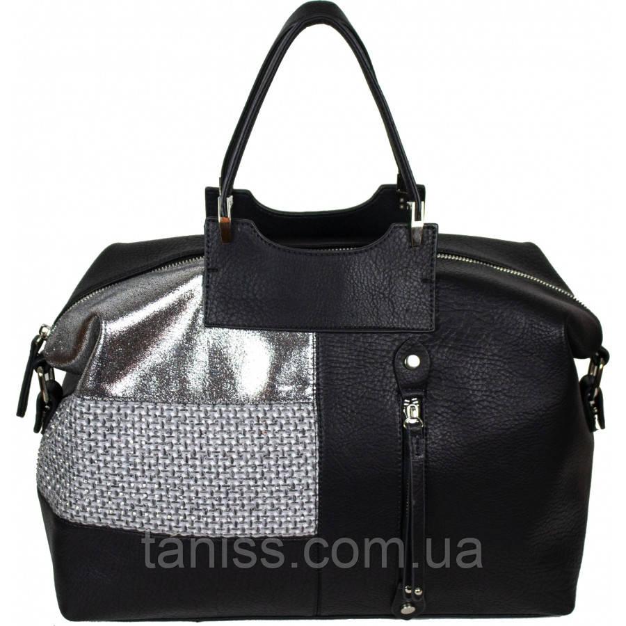 Женская стильная сумка, материал кожзам и хлопок ,две короткие ручки,  1 отделение ( 68166) 3 цвета, черный