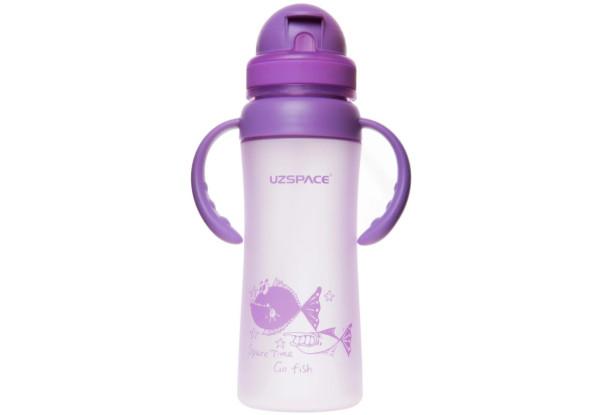 Пляшечка - поїльник з трубочкою і ручками UZspace 3041 350 мл, фіолетова