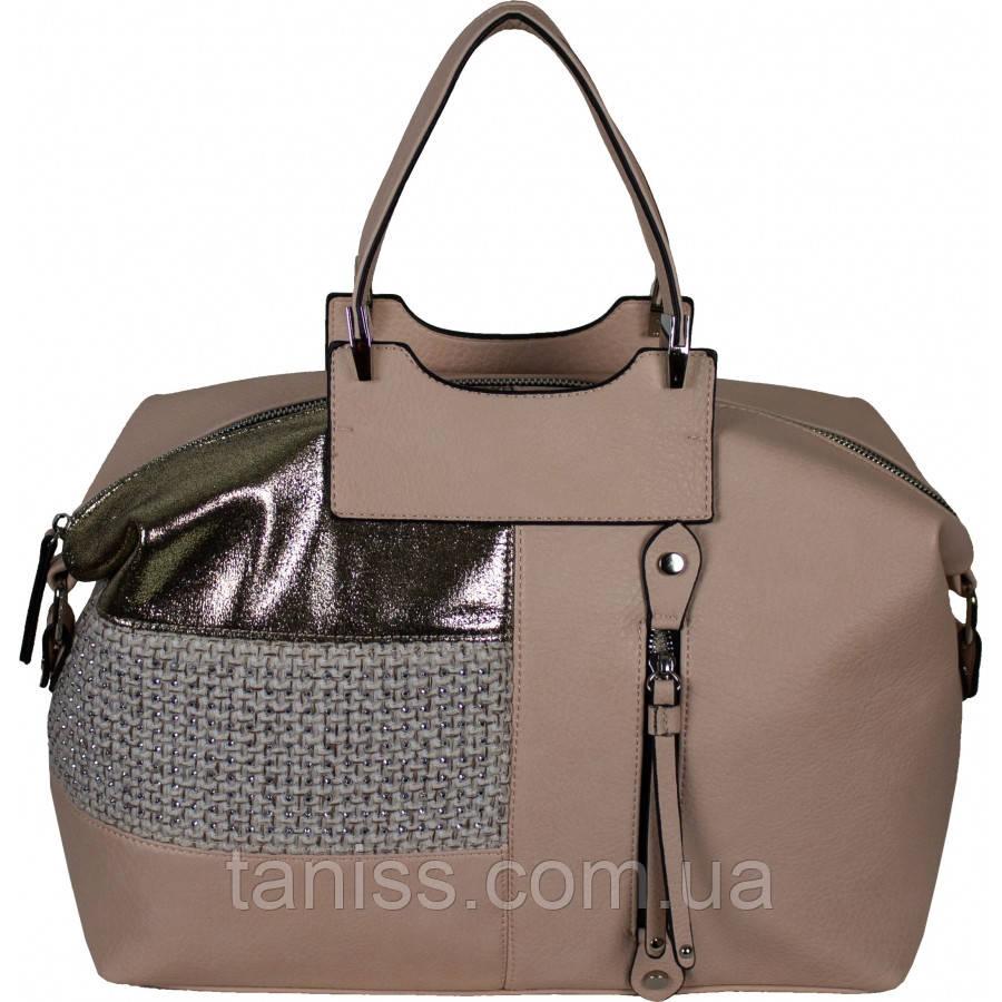 Жіноча стильна сумка, матеріал кожзам і бавовна ,дві короткі ручки, 1 відділення ( 68166) 3 кольору, рожевий