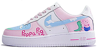 Женские кроссовки Nike Air Force 1 Peppa Pig White Найк Аир Форс Свинка Пеппа белые Форсы