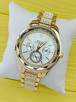 Женские наручные часы Rolex золотые с серебром, камушки на браслете и циферблате, CW490