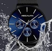Часы наручные  мужские черные Megalith 0047M-6 Black-Blue, годинник наручний чоловічий