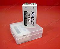 """Аккумулятор LiIon 9В """"КРОНА"""" 650мАч PALO с возможностью зарядки от USB (+ через клеммы).V2.OEM. (1 штука)"""
