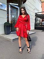 Шелковое платье до колена на запах с высокой талией и декольте, фото 3